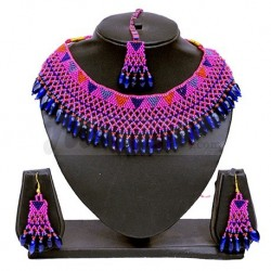 Pink and Blue Beaded Jewellery