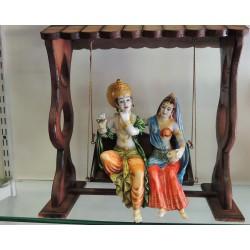 Radha Kishan Wooden Frame Murti